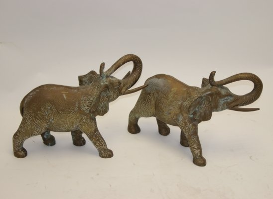 Pair of Large Solid Bronze Elephants, 1950s