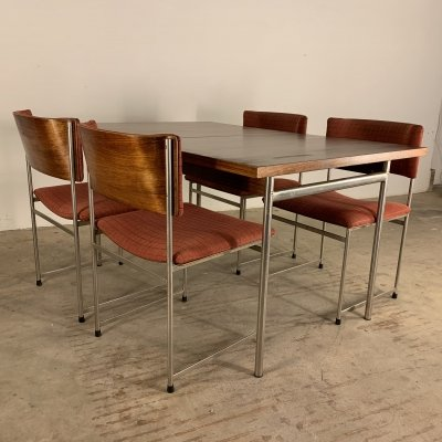 Cees Braakman for Pastoe SM08 dining set with extendable table & 4 chairs, 1960s