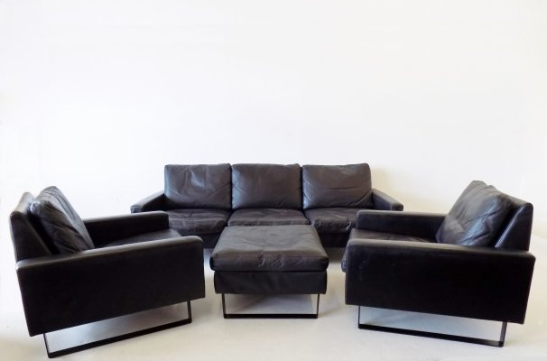 Black leather 'Conseta' living room set by Friedrich Wilhelm Möller for COR, 1960s
