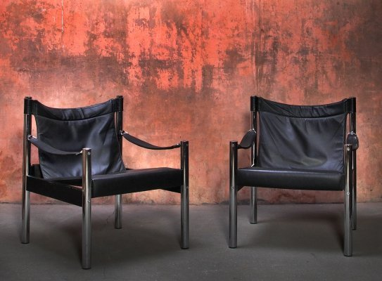 Vintage Safari Lounge Chairs by Johanson, Sweden 1960s