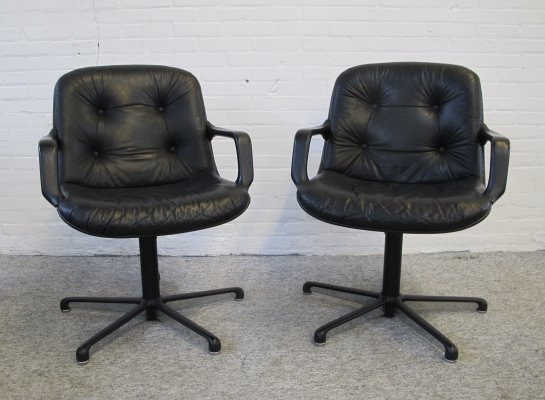 Two vintage black leather office Chairs by Charles Pollock for Comforto, 1970s