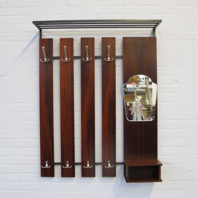 Vintage rosewood slatted wall coat rack, 1960s