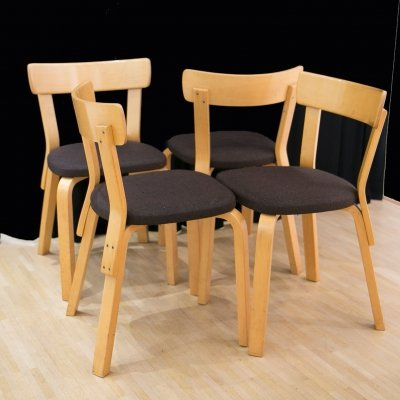 4 chairs model 69 by Alvar Aalto for Artek, Finland 1980's