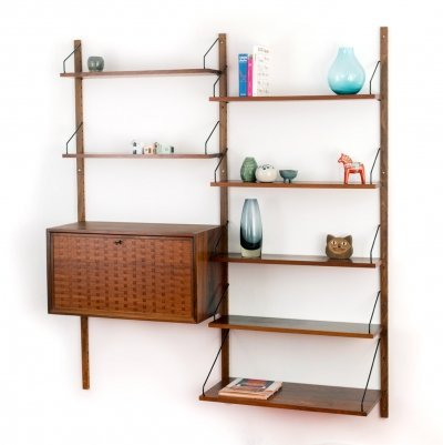 Vintage rosewood wall unit designed by Poul Cadovius for Cado, 1950's