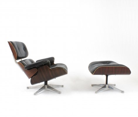 Black leather & rosewood Eames lounge chair by Herman Miller, 1970s