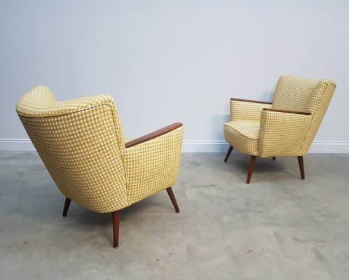 Pair of Mid Century Cocktail / Club Chairs in Yellow, 1960