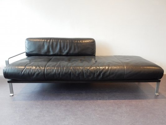 Unique black leather chaise longue or daybed by Matteo Grassi, Italy 1980's