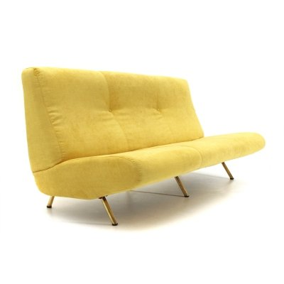 Midcentury modern 3-seater yellow velvet sofa by Marco Zanuso for Arflex, 1950s