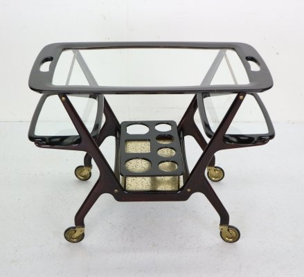 Mid-Century Modern Mahogany Bar Cart/Trolley by Cesare Lacca for Cassina, 1950s
