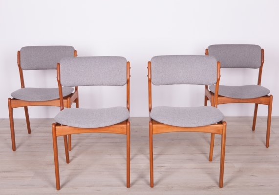 Set of 4 Dining Chairs by E. Buch for Oddense Maskinsnedkeri / O.D. Møbler, 1960s