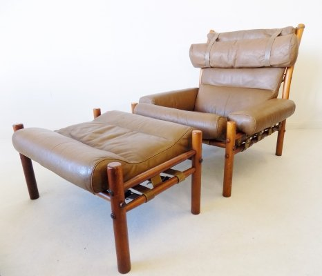 Inca Chair with ottoman in caramel leather by Arne Norell for Norell AB