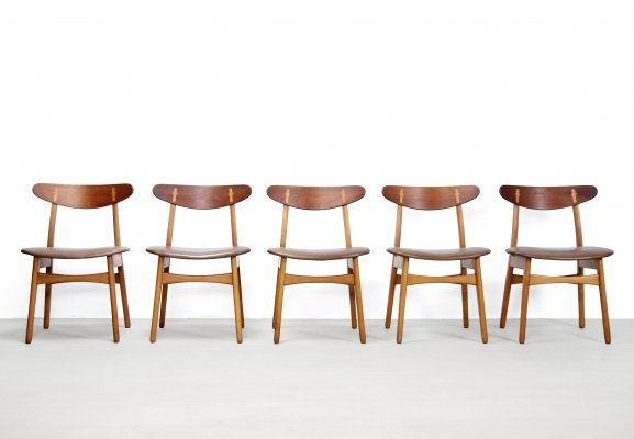 Set of 5 CH30 dining chairs by Hans Wegner for Carl Hansen & Søn, 1950s