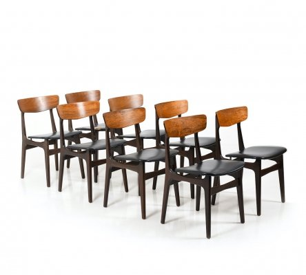 Set of 8 Danish Dining Chairs in Rosewood/Teak, 1950s