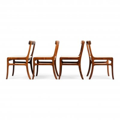 Set of 4 Rare Rungstedlund chairs in Rosewood by Ole Wanscher, 1960s