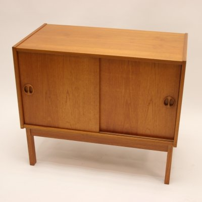 Danish Solid Teak Cabinet with Sliding Doors
