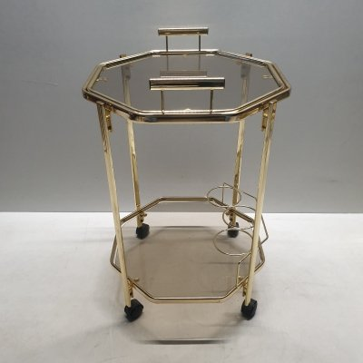 Octagonal gold-plated & smoked glass Morex serving trolley with a removable tray