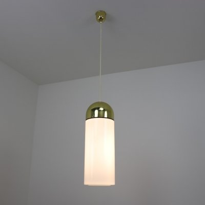 9 brass & opal glass hanging lamps by Glashütte Limburg, 1970s