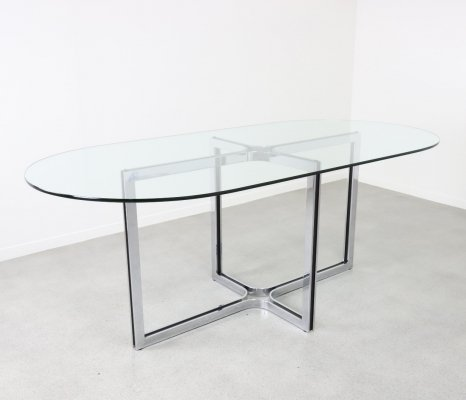 Large oval dining table by Gastone Rinaldi for Thema Italy, 1970s