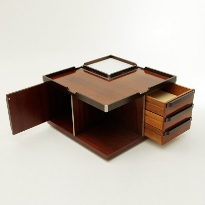 Midcentury square coffee table with bar by Fiarm, 1970's