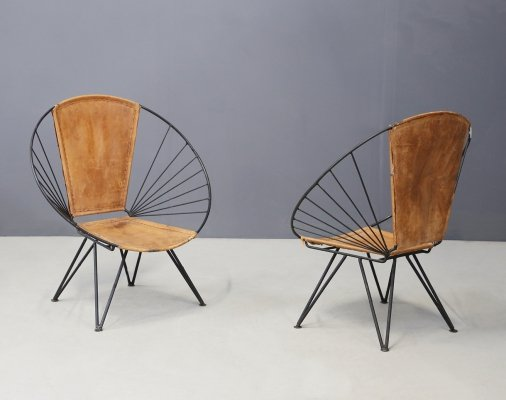 Pair of Italian oval armchairs in iron & leather, 1960s
