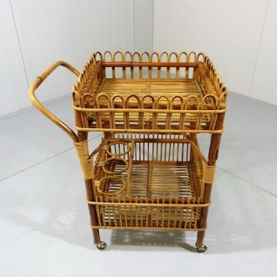 Unusual rattan trolley, 1950's
