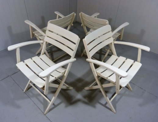 Set of 4 comfortable wooden folding garden chairs, 1960's