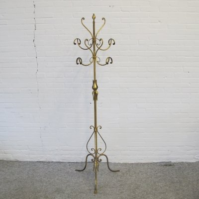 Vintage Hollywood regency style brass & metal coat rack, 1970s
