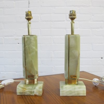 Two vintage Pia marble table lamps, 1970s