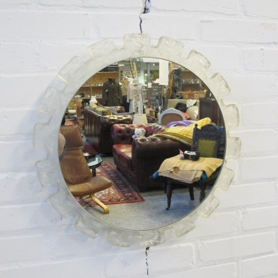 Vintage Illuminated Round Mirror by Hillebrand, 1960's