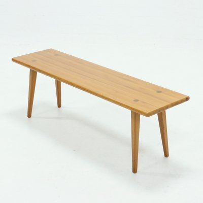 Carl Malmsten Solid Pine Bench by Svensk Fur, Sweden 1940s