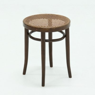 Vintage Bentwood Round Stool with Rattan Webbing, 1960s