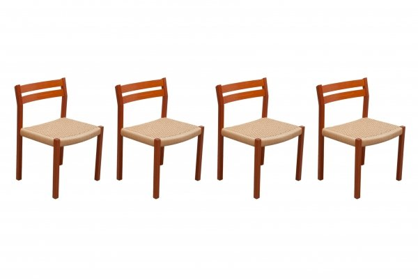 Set of 4 Mid-Century Modern Paper Cord Dining Chairs by Jorgen Henrik Møller