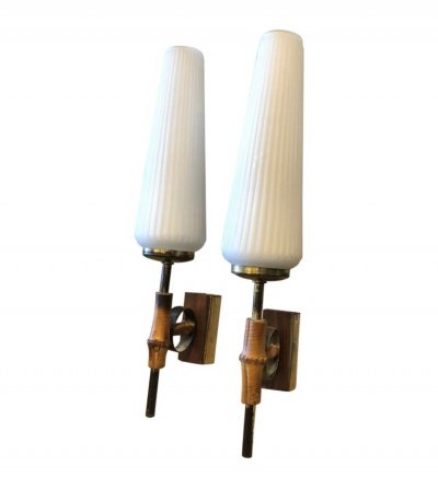 Set of Two Rare Mid-Century Modern Italian Wall Sconces, circa 1950