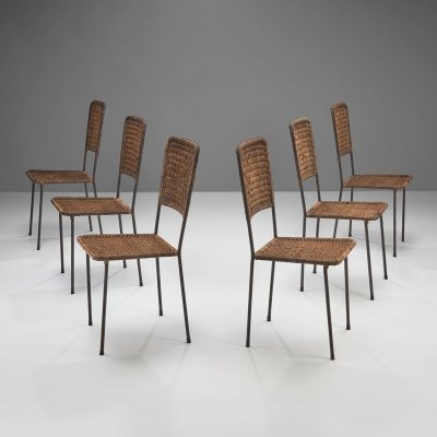 6 Iron & Rattan Chairs, Brazil 1960s