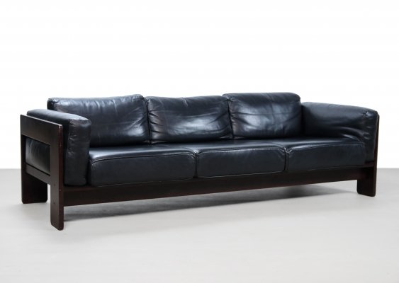 Black leather Bastiano sofa by Afra & Tobia Scarpa, 1960s