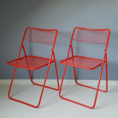 Set of 2 Red Ted Net Folding Chairs by Niels Gammelgaard for IKEA, 1970s