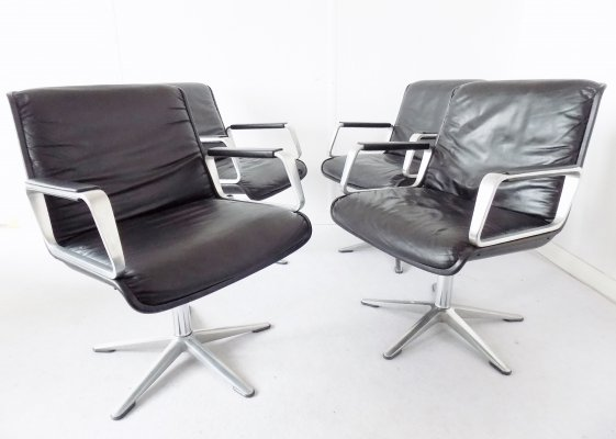 Set of 4 black leather Delta 2000 dining chairs by Delta Design for Wilkhahn, 1960s