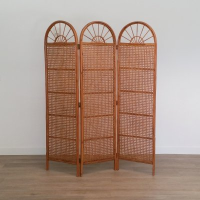 Vintage Rattan Room Divider / Folding Screen, 1960s