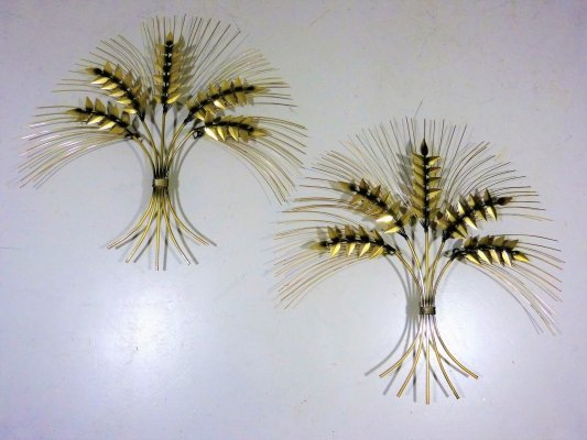 Set of 2 large stylish iron wheatsheaf wall decorations, 1950's