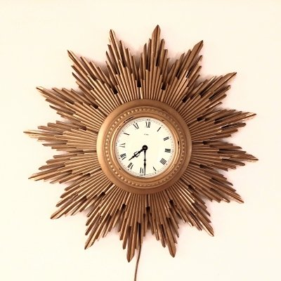 Vintage sunburst electric clock by Metamec, 1950s
