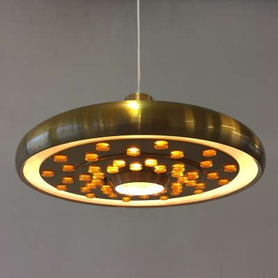 Brass space age hanging lamp, 1970s