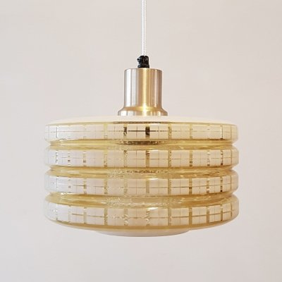 Yellow glass hanging lamp by Carl Fagerlund for Orrefors, 1970s