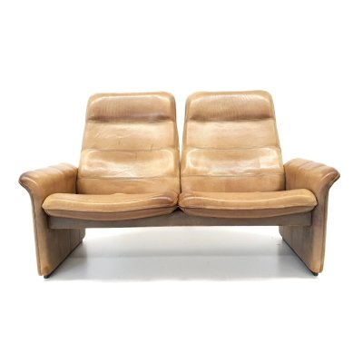 2x Vintage De Sede 2-seater sofa Model DS 50 made of thick leather