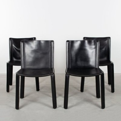 Set of 4 Willy Rizzo black saddle leather chairs by Cidue, 1980s