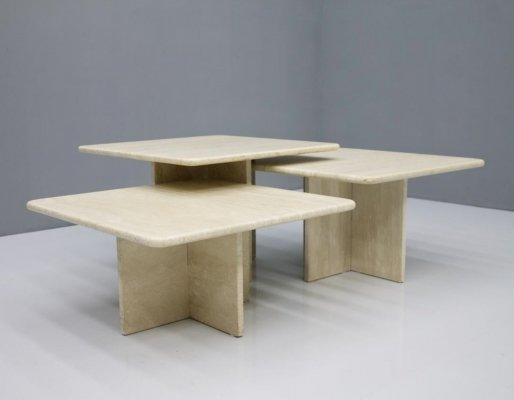 Set of Three Travertine Coffee or Side Tables, 1970s