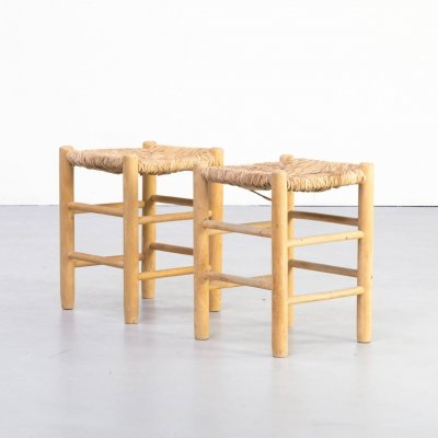 Pair of Charlotte Perriand 'Dordogne' stools for Robert Sentou, 1960s