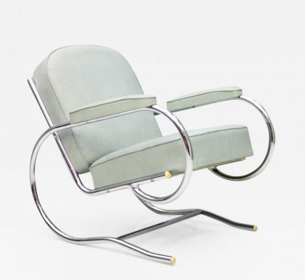 Steel Tube Lounge Chair by Batistin Spade, 1930s