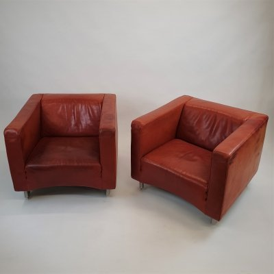 Set of 2 Molinari Red/Cognac Thick Leather lounge chairs, 1990s