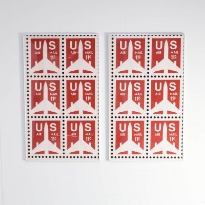 Pair of US Air Mail poster 'Think Big', 1983