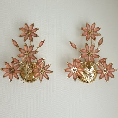 Pair brass wall lamps by B C San Michele with Murano glass flowers